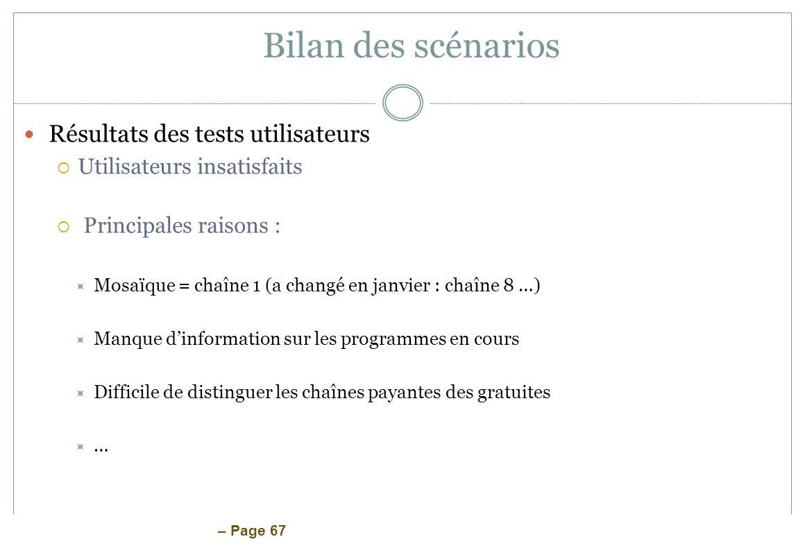 – Page 67 Bilan des scénarios Résultats des tests utilisateurs Utilisateurs insatisfaits Principales raisons : Mosaïque = chaîne 1 (a changé en janvie