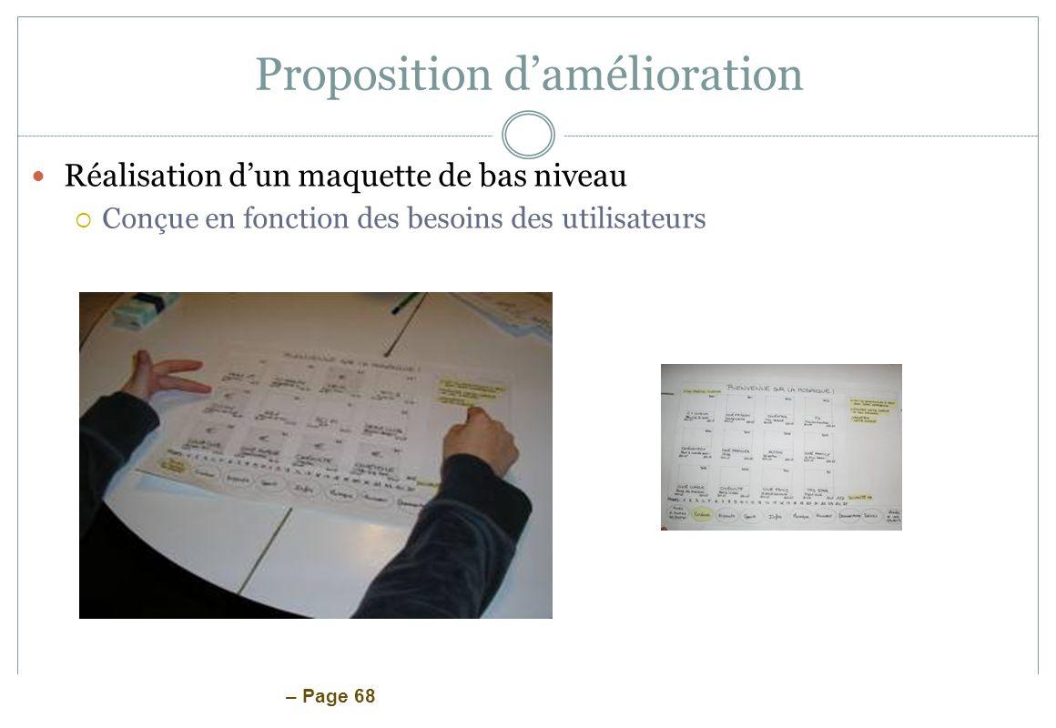 – Page 68 Proposition damélioration Réalisation dun maquette de bas niveau Conçue en fonction des besoins des utilisateurs