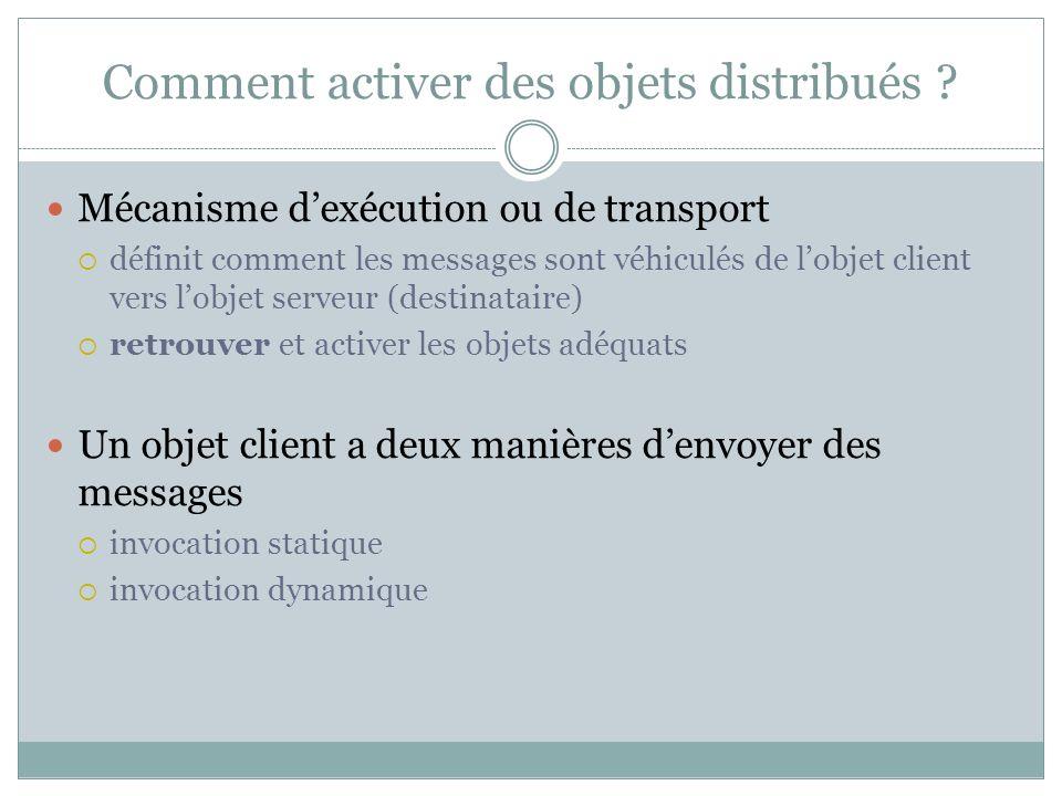 Comment activer des objets distribués ? Mécanisme dexécution ou de transport définit comment les messages sont véhiculés de lobjet client vers lobjet