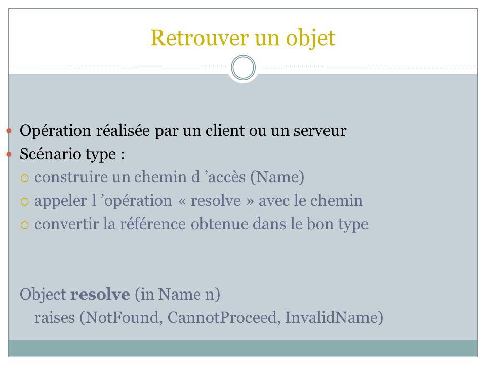 Retrouver un objet Opération réalisée par un client ou un serveur Scénario type : construire un chemin d accès (Name) appeler l opération « resolve »