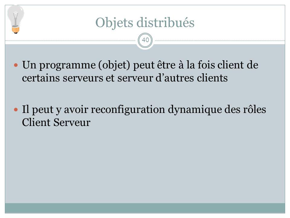40 Objets distribués Un programme (objet) peut être à la fois client de certains serveurs et serveur dautres clients Il peut y avoir reconfiguration d
