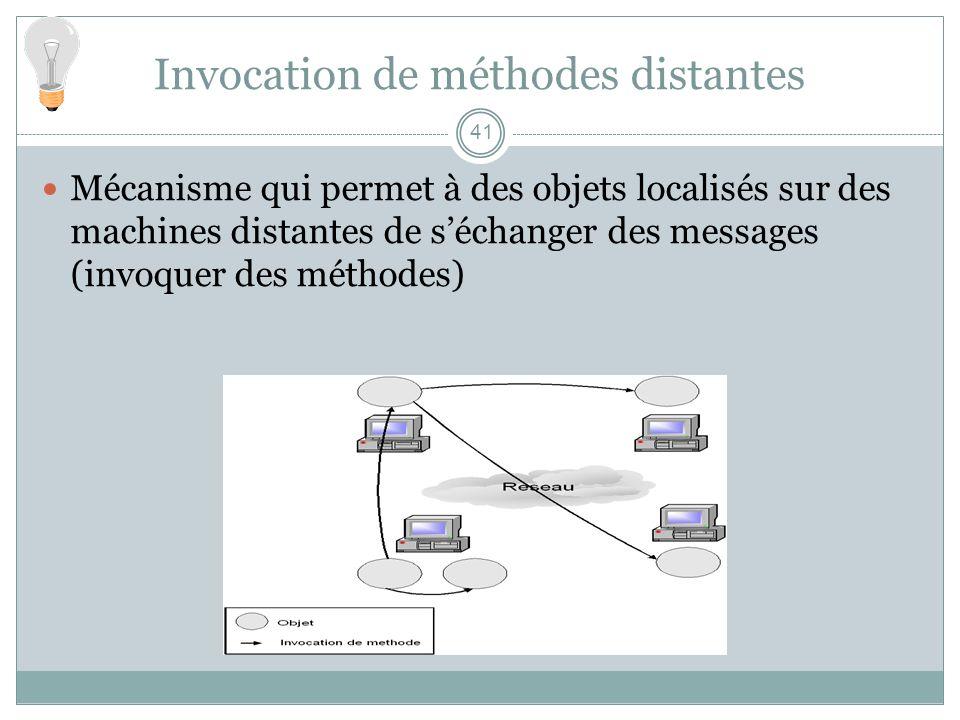 41 Invocation de méthodes distantes Mécanisme qui permet à des objets localisés sur des machines distantes de séchanger des messages (invoquer des mét