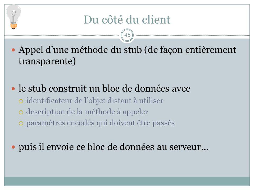48 Du côté du client Appel dune méthode du stub (de façon entièrement transparente) le stub construit un bloc de données avec identificateur de lobjet