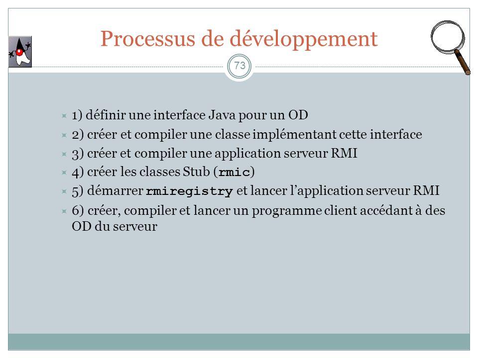 73 1) définir une interface Java pour un OD 2) créer et compiler une classe implémentant cette interface 3) créer et compiler une application serveur