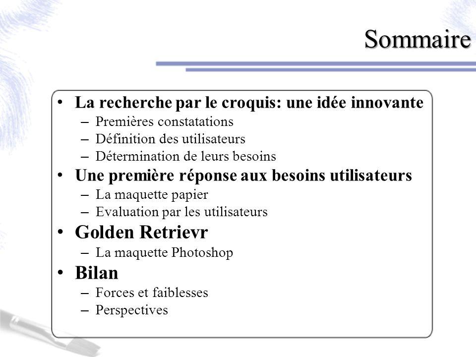 La recherche par le croquis: une idée innovante Premières constatations 1.Une idée innovante a)Les constatations b)Les utilisateurs c)Leurs besoins 2.Une première réponse 3.Golden Retrievr 4.Bilan