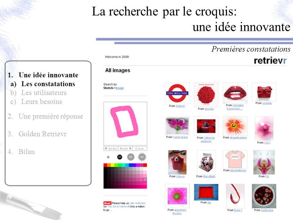 La recherche par le croquis: une idée innovante Premières constatations 1.Une idée innovante a)Les constatations b)Les utilisateurs c)Leurs besoins 2.