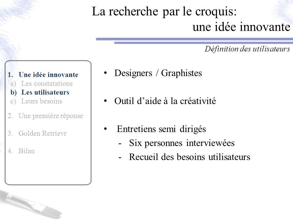 1.Une idée innovante a)Les constatations b)Les utilisateurs c)Leurs besoins 2.Une première réponse 3.Golden Retrievr 4.Bilan La recherche par le croqu