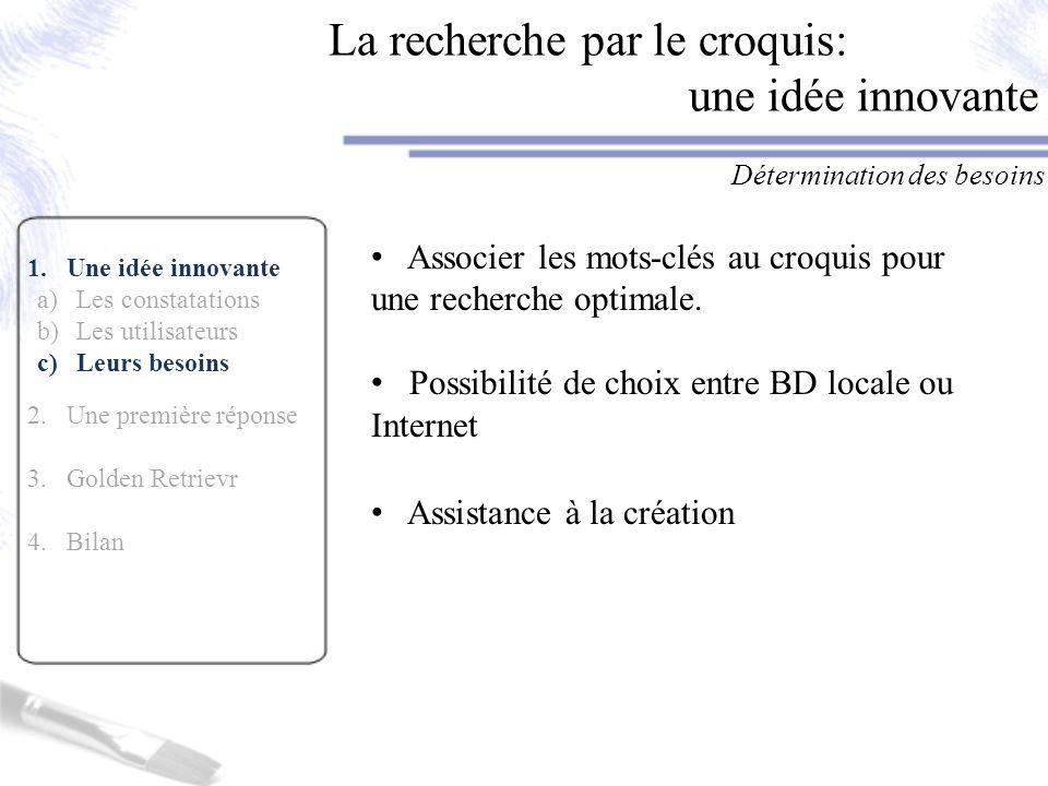 1.Une idée innovante 2.Une première réponse a)Maquette papier b)Evaluation utilisateurs 3.Golden Retrievr 4.Bilan Une première réponse aux besoins utilisateurs La maquette papier