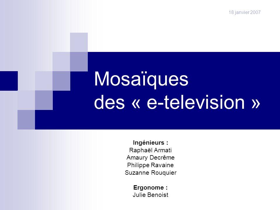 Les mosaïques d e-télévision22 questionnaire diffusion résultats scénarios Modèle de taches Bilan +/- Proposition Damélioration Maquette de bas niveau scénarios Modèle de taches Bilan +/- Travail effectué