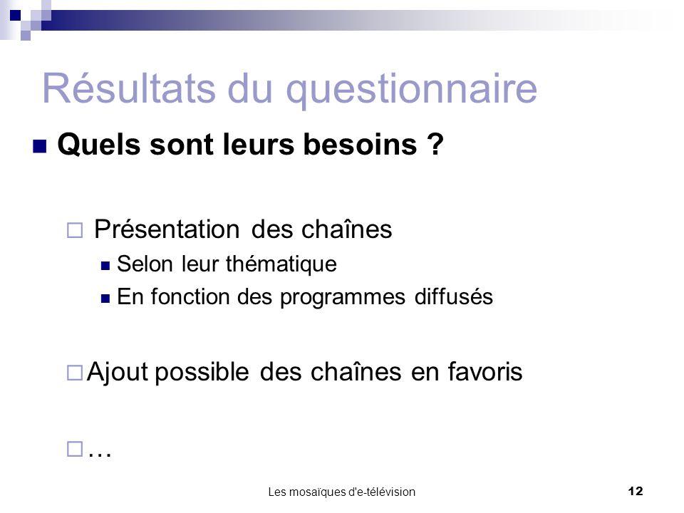 Les mosaïques d'e-télévision12 Résultats du questionnaire Quels sont leurs besoins ? Présentation des chaînes Selon leur thématique En fonction des pr