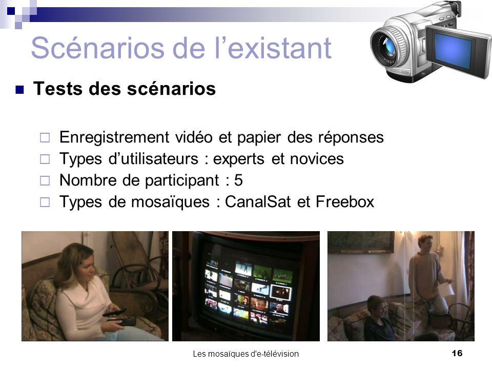 Les mosaïques d'e-télévision16 Scénarios de lexistant Tests des scénarios Enregistrement vidéo et papier des réponses Types dutilisateurs : experts et