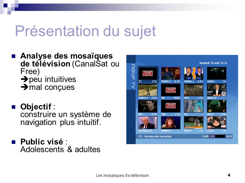 Les mosaïques d'e-télévision4 Présentation du sujet Analyse des mosaïques de télévision (CanalSat ou Free) peu intuitives mal conçues Objectif : const