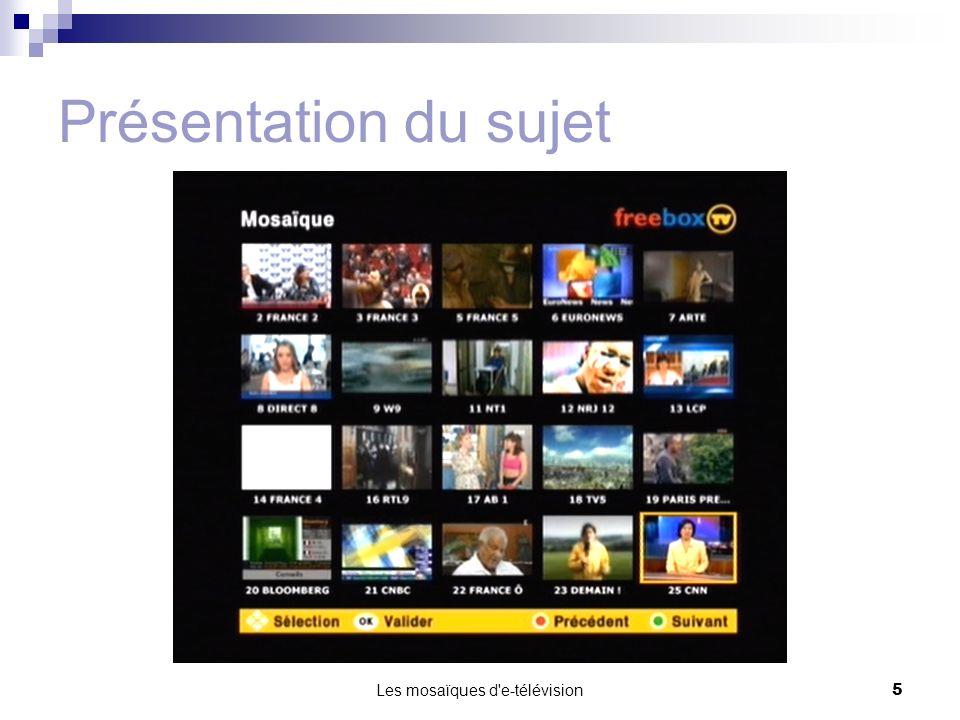 Les mosaïques d e-télévision6 PLAN Présentation du sujet Présentation du travail effectué Travail à venir
