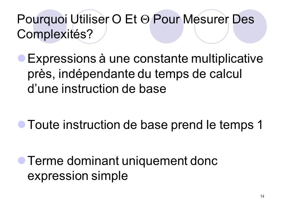 14 Pourquoi Utiliser O Et Pour Mesurer Des Complexités? Expressions à une constante multiplicative près, indépendante du temps de calcul dune instruct