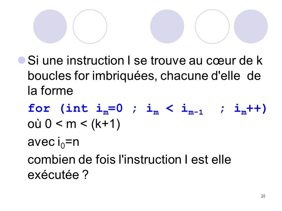 20 Si une instruction I se trouve au cœur de k boucles for imbriquées, chacune d'elle de la forme for (int i m =0 ; i m < i m-1 ; i m ++) où 0 < m < (