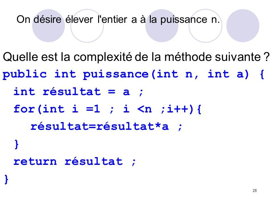 28 On désire élever l'entier a à la puissance n. Quelle est la complexité de la méthode suivante ? public int puissance(int n, int a) { int résultat =