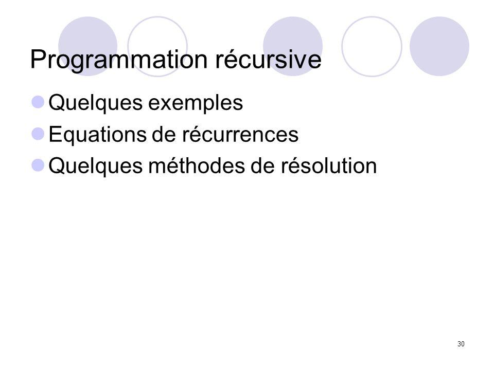 30 Programmation récursive Quelques exemples Equations de récurrences Quelques méthodes de résolution