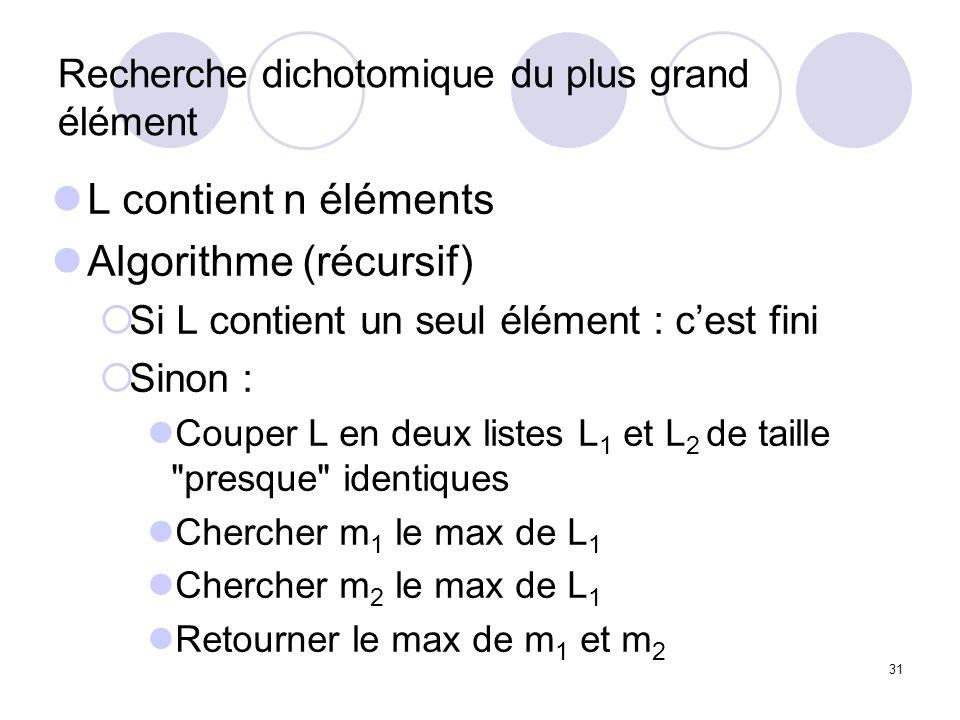 31 Recherche dichotomique du plus grand élément L contient n éléments Algorithme (récursif) Si L contient un seul élément : cest fini Sinon : Couper L