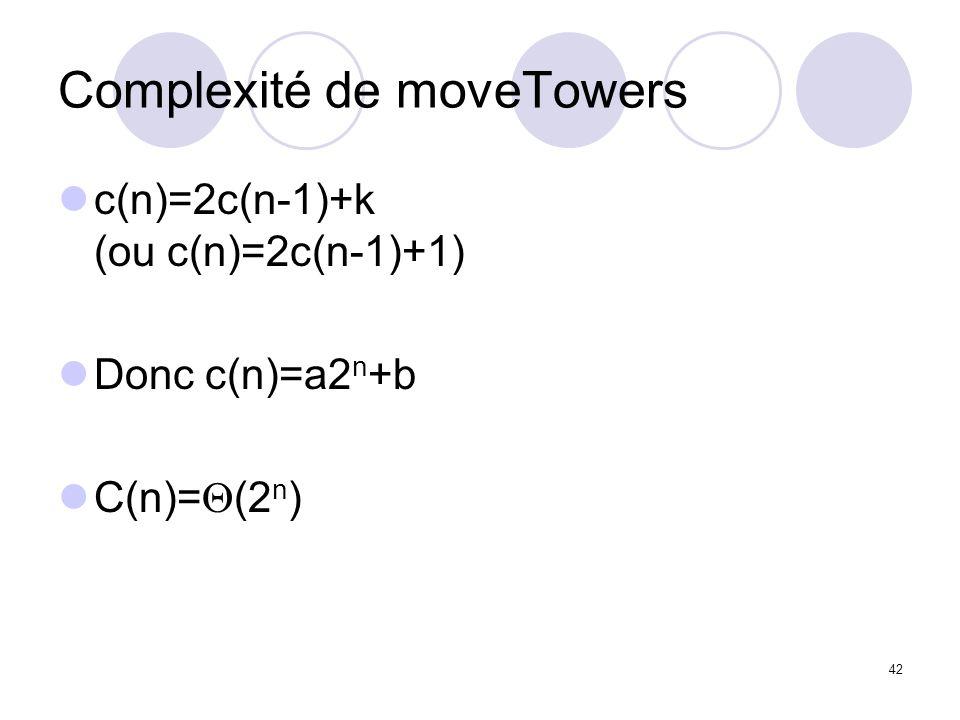 42 Complexité de moveTowers c(n)=2c(n-1)+k (ou c(n)=2c(n-1)+1) Donc c(n)=a2 n +b C(n)= (2 n )