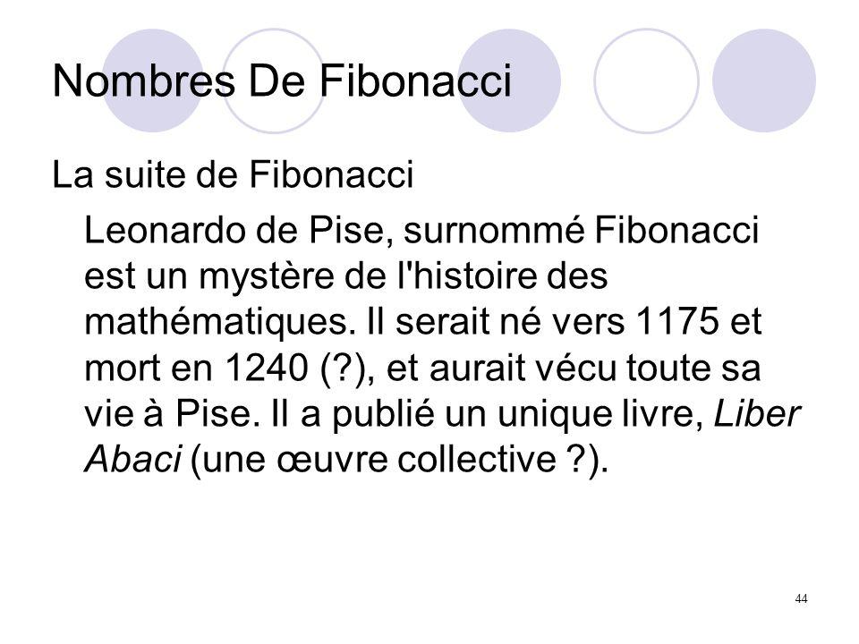 44 Nombres De Fibonacci La suite de Fibonacci Leonardo de Pise, surnommé Fibonacci est un mystère de l'histoire des mathématiques. Il serait né vers 1