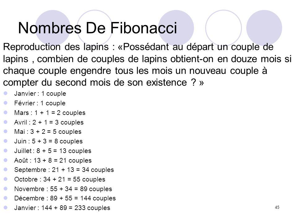 45 Nombres De Fibonacci Reproduction des lapins : «Possédant au départ un couple de lapins, combien de couples de lapins obtient-on en douze mois si c