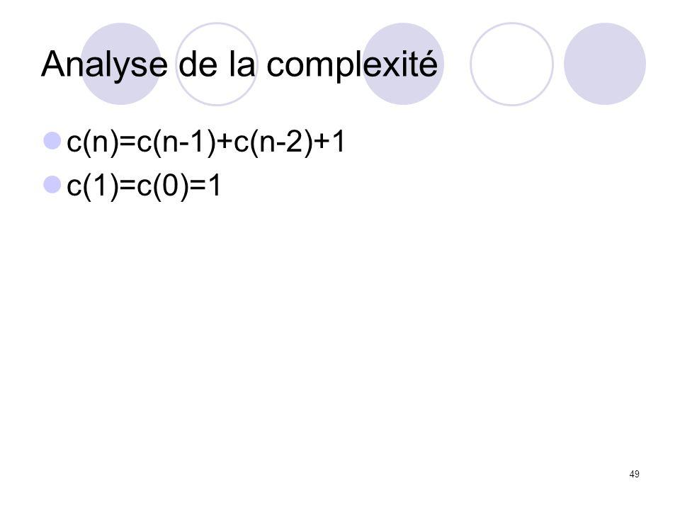 49 Analyse de la complexité c(n)=c(n-1)+c(n-2)+1 c(1)=c(0)=1