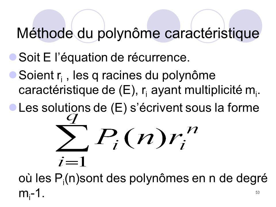 53 Méthode du polynôme caractéristique Soit E léquation de récurrence. Soient r i, les q racines du polynôme caractéristique de (E), r i ayant multipl
