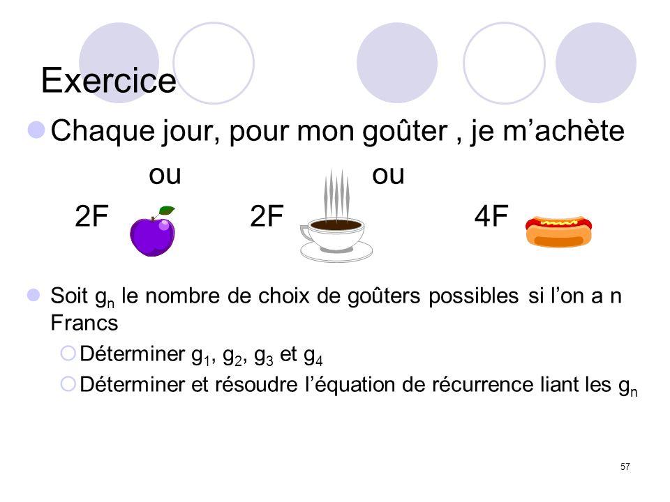 57 Exercice Chaque jour, pour mon goûter, je machète ou ou 2F 2F 4F Soit g n le nombre de choix de goûters possibles si lon a n Francs Déterminer g 1,