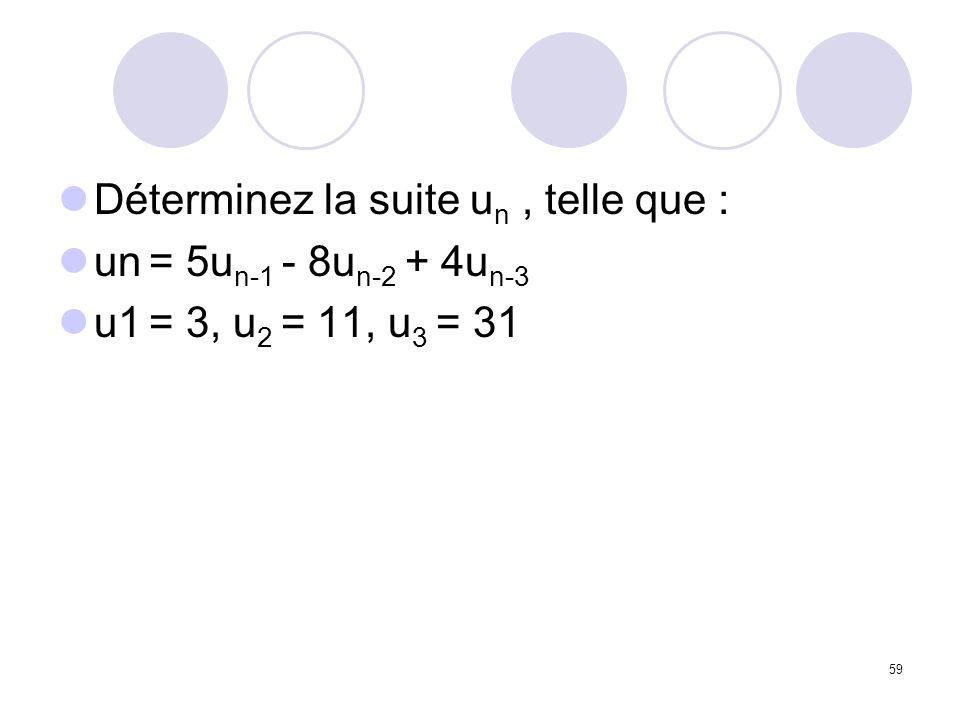 59 Déterminez la suite u n, telle que : un = 5u n-1 - 8u n-2 + 4u n-3 u1 = 3, u 2 = 11, u 3 = 31