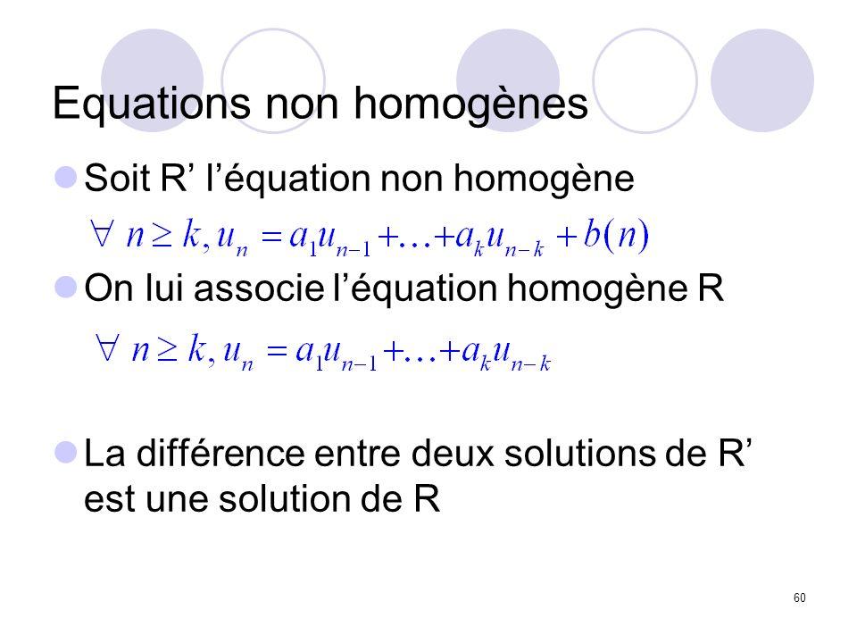 60 Equations non homogènes Soit R léquation non homogène On lui associe léquation homogène R La différence entre deux solutions de R est une solution