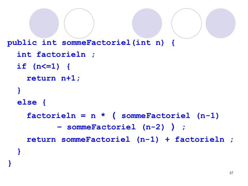 67 public int sommeFactoriel(int n) { int factorieln ; if (n<=1) { return n+1; } else { factorieln = n * ( sommeFactoriel (n-1) – sommeFactoriel (n-2)