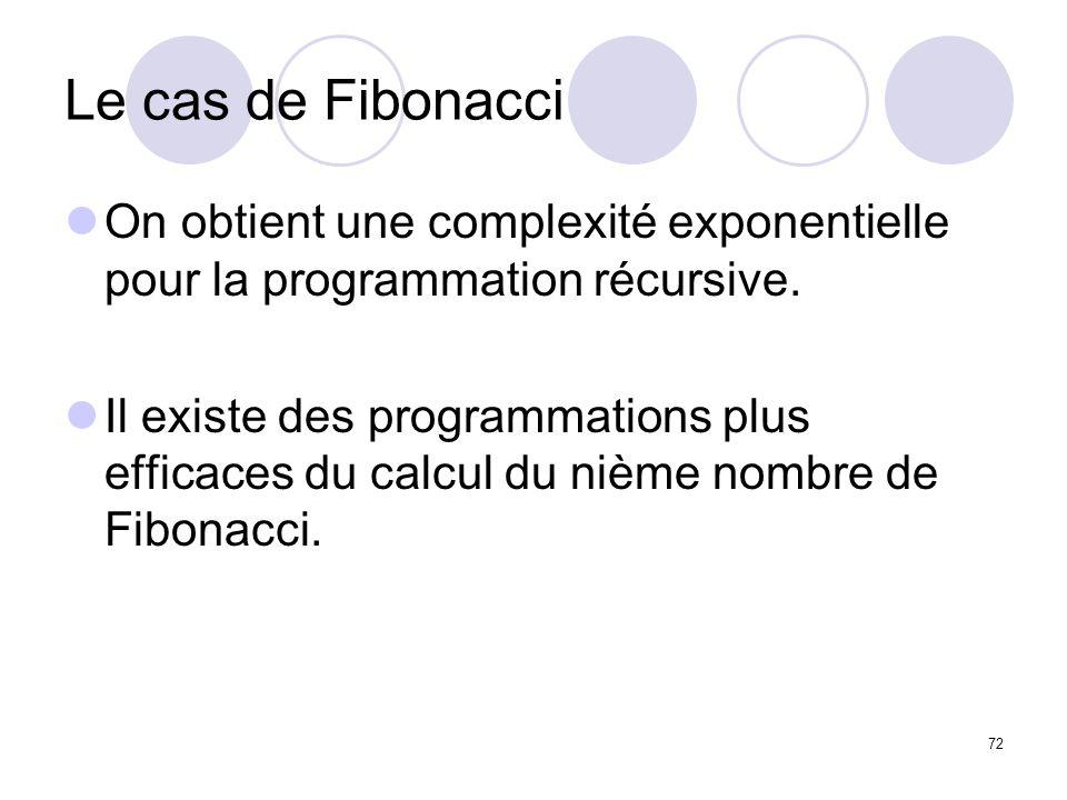 72 Le cas de Fibonacci On obtient une complexité exponentielle pour la programmation récursive. Il existe des programmations plus efficaces du calcul
