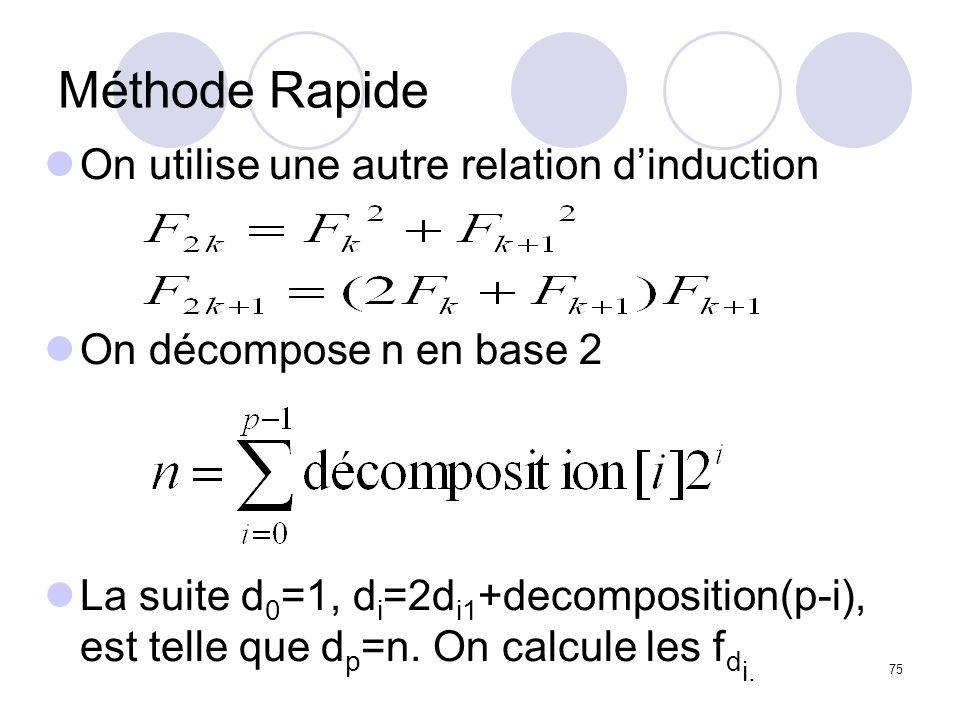 75 Méthode Rapide On utilise une autre relation dinduction On décompose n en base 2 La suite d 0 =1, d i =2d i1 +decomposition(p-i), est telle que d p