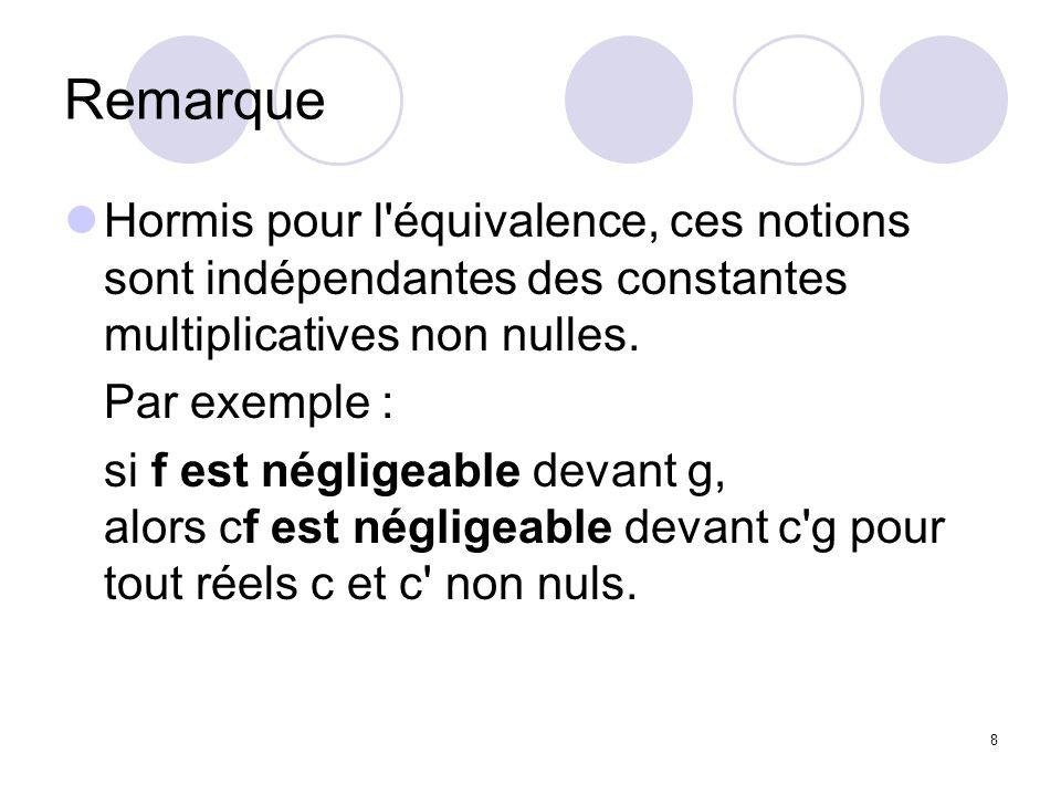 8 Remarque Hormis pour l'équivalence, ces notions sont indépendantes des constantes multiplicatives non nulles. Par exemple : si f est négligeable dev