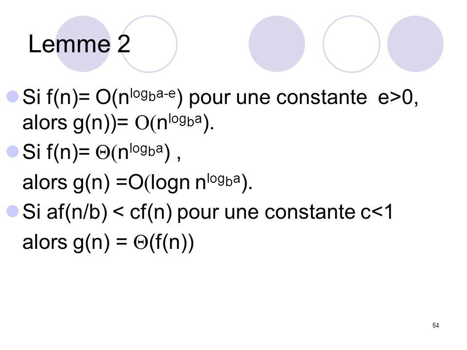 84 Lemme 2 Si f(n)= O(n log b a-e ) pour une constante e>0, alors g(n))= n log b a ). Si f(n)= n log b a ), alors g(n) =O logn n log b a ). Si af(n/b)