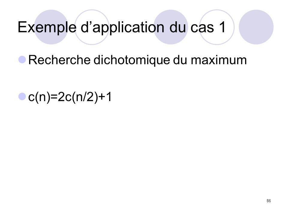 86 Exemple dapplication du cas 1 Recherche dichotomique du maximum c(n)=2c(n/2)+1