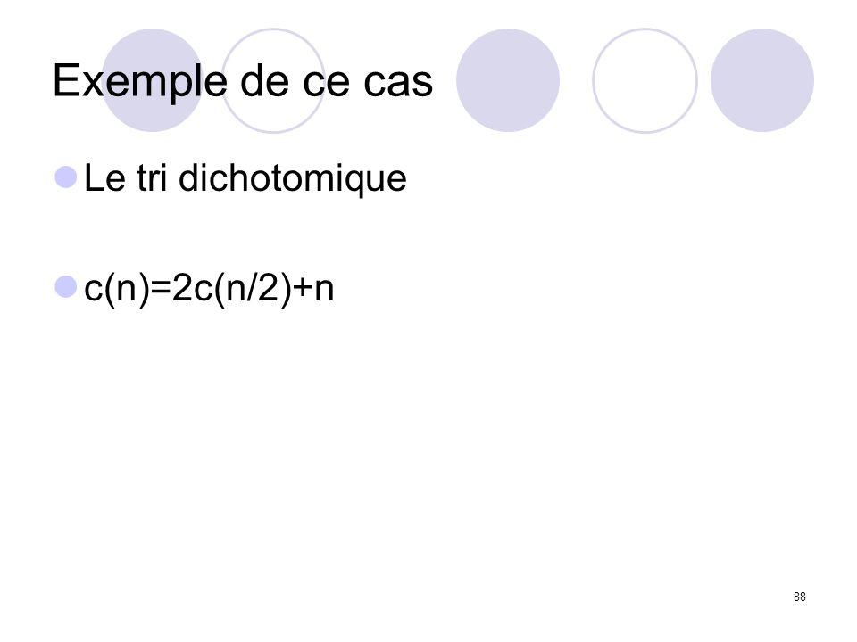 88 Exemple de ce cas Le tri dichotomique c(n)=2c(n/2)+n
