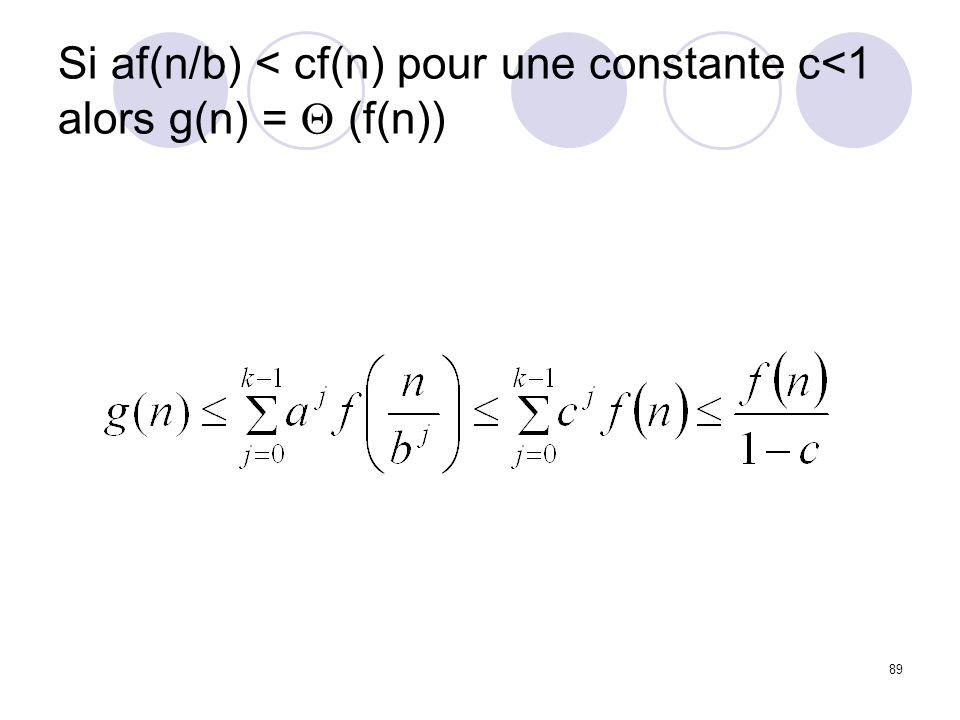 89 Si af(n/b) < cf(n) pour une constante c<1 alors g(n) = (f(n))