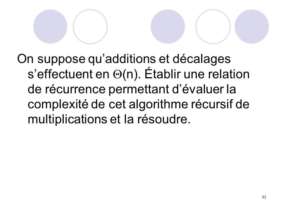 93 On suppose quadditions et décalages seffectuent en (n). Établir une relation de récurrence permettant dévaluer la complexité de cet algorithme récu