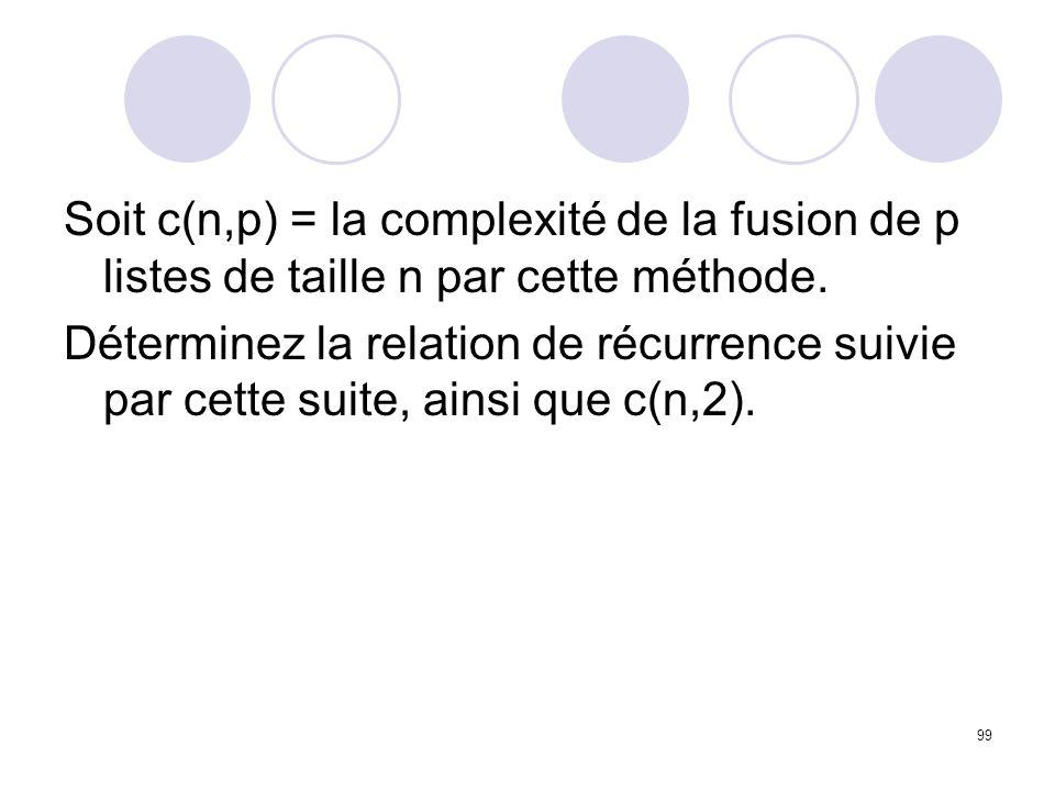 99 Soit c(n,p) = la complexité de la fusion de p listes de taille n par cette méthode. Déterminez la relation de récurrence suivie par cette suite, ai