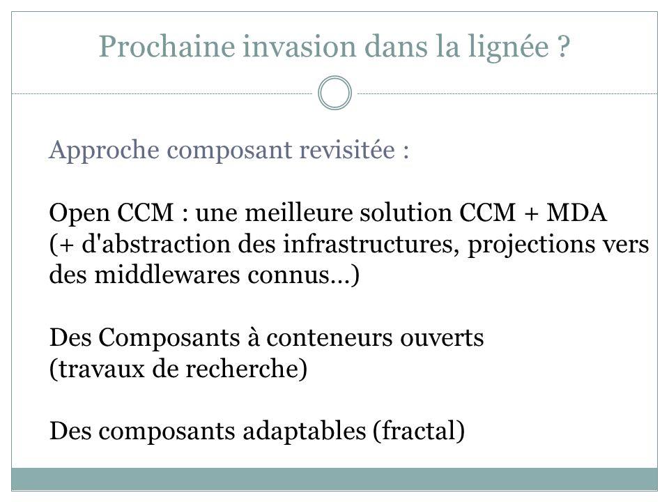 Prochaine invasion dans la lignée ? Approche composant revisitée : Open CCM : une meilleure solution CCM + MDA (+ d'abstraction des infrastructures, p