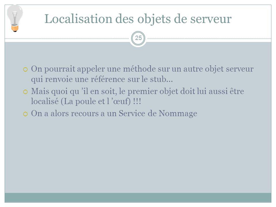 Localisation des objets de serveur 25 On pourrait appeler une méthode sur un autre objet serveur qui renvoie une référence sur le stub... Mais quoi qu