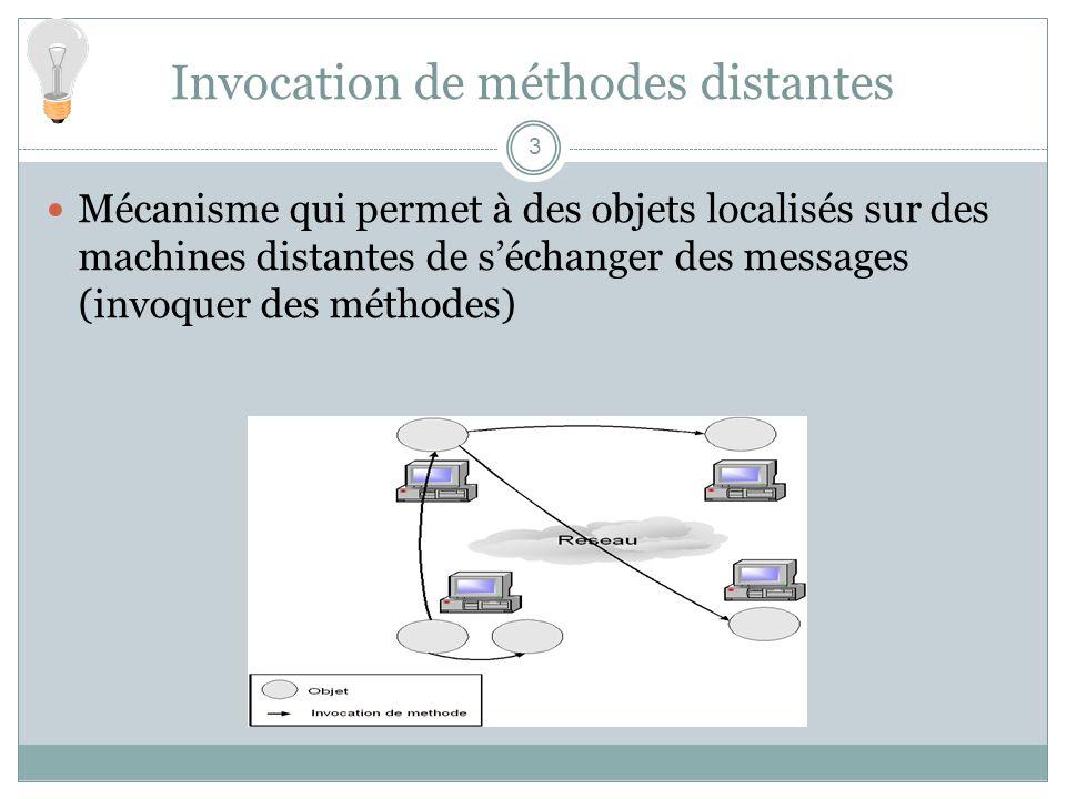 Invocation de méthodes distantes 3 Mécanisme qui permet à des objets localisés sur des machines distantes de séchanger des messages (invoquer des méth
