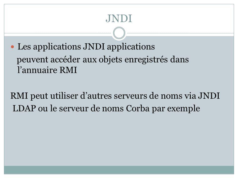 JNDI Les applications JNDI applications peuvent accéder aux objets enregistrés dans lannuaire RMI RMI peut utiliser dautres serveurs de noms via JNDI