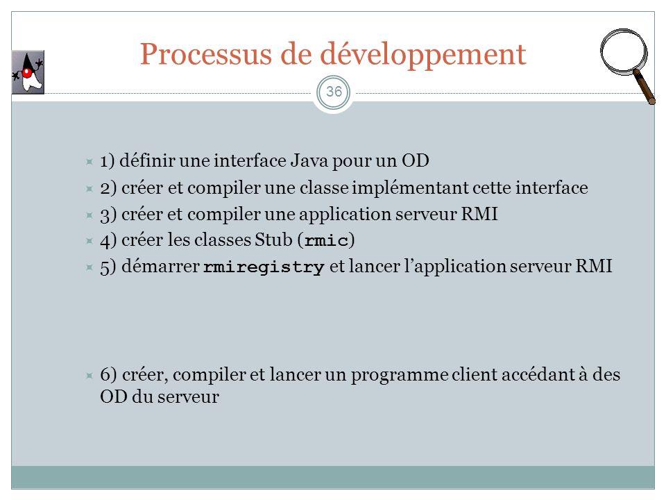 Processus de développement 36 1) définir une interface Java pour un OD 2) créer et compiler une classe implémentant cette interface 3) créer et compil