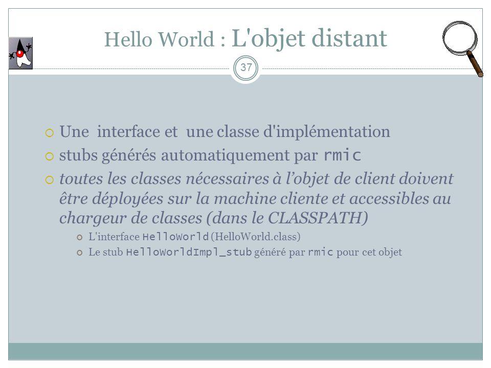 Hello World : L'objet distant 37 Une interface et une classe d'implémentation stubs générés automatiquement par rmic toutes les classes nécessaires à