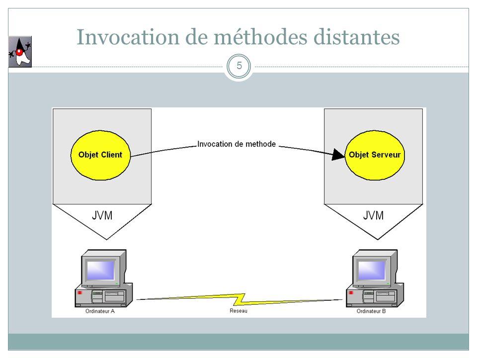 Stubs et encodage des paramètres 6 le code dun objet client invoque une méthode sur un objet distant Utilisation dun objet substitut dans la JVM du client : le stub (souche) de l objet serveur