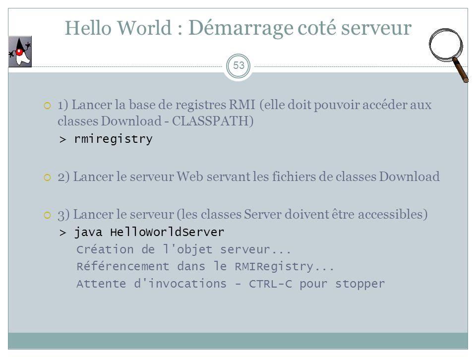 Hello World : Démarrage coté serveur 53 1) Lancer la base de registres RMI (elle doit pouvoir accéder aux classes Download - CLASSPATH) > rmiregistry