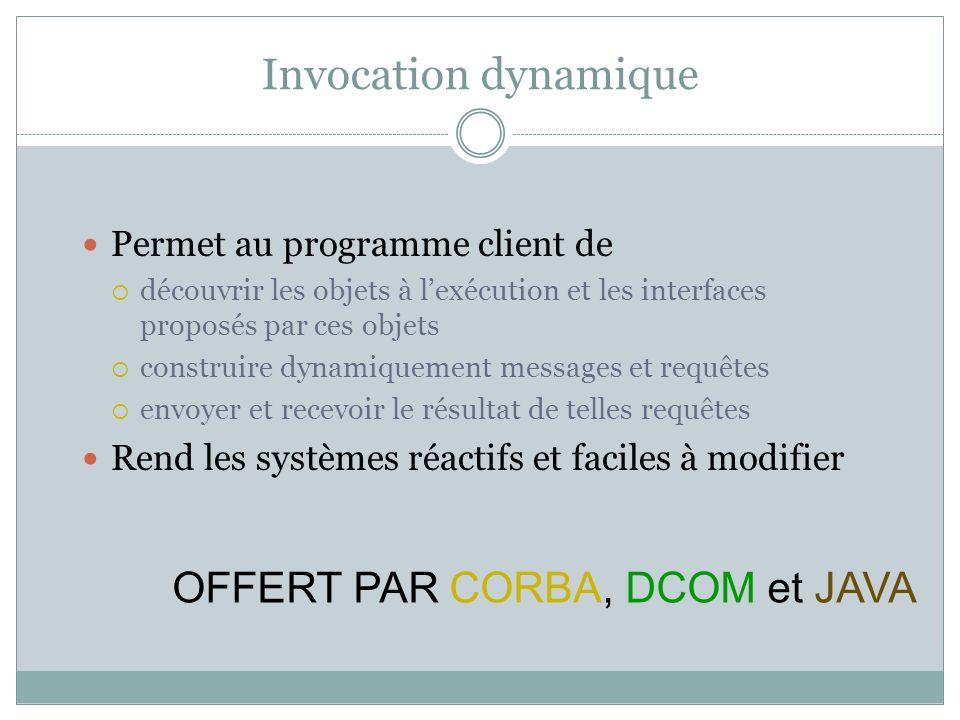 Invocation dynamique Permet au programme client de découvrir les objets à lexécution et les interfaces proposés par ces objets construire dynamiquemen