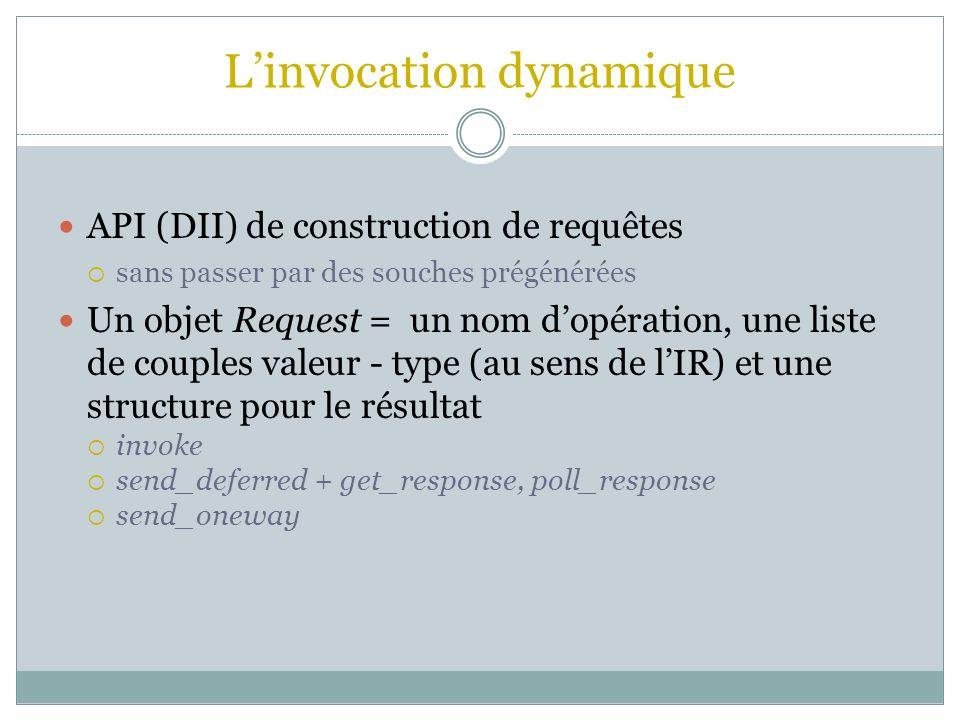 Linvocation dynamique API (DII) de construction de requêtes sans passer par des souches prégénérées Un objet Request = un nom dopération, une liste de